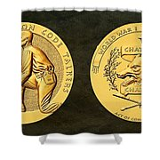 Pawnee Nation Tribe Code Talkers Bronze Medal Art Shower Curtain
