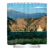 Payson Temple Mountains Shower Curtain