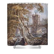 View Of The Old Welsh Bridge Shower Curtain