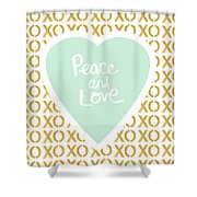 Peace And Love In Aqua And Gold Shower Curtain by Linda Woods
