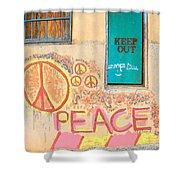Hippie Graffiti - Peace But Keep Out Shower Curtain