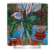 Peace Lilies On The Patio Shower Curtain