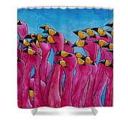 Peace Love And Flamingos Shower Curtain by Patti Schermerhorn