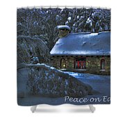 Peace On Earth Holiday Card Moonlight On Stone House.  Shower Curtain