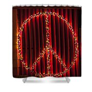 Peace Sign Christmas Lights Shower Curtain