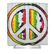 Peace Sign Fruits And Vegetables Shower Curtain