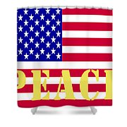 Peace The American Flag Shower Curtain
