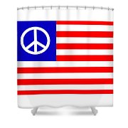 Peace Usa Flag Shower Curtain