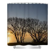 Peaceful Blues And Golds  Shower Curtain