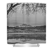 Peaceful Early Morning First Light Longs Peak View Bw Shower Curtain