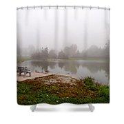 Peaceful Foggy Morning Marr Park Shower Curtain
