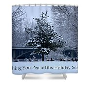 Peaceful Holiday Card - Winter Landscape Shower Curtain