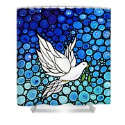 Peaceful Journey - White Dove Peace Art Shower Curtain by Sharon Cummings