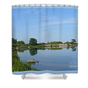 Peaceful Water Reflection At Tommy Thompson Park Shower Curtain