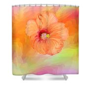 Peach Hibiscus Shower Curtain