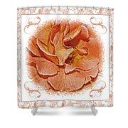 Peach Rose Sqrare Digital Paint Shower Curtain