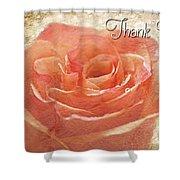 Peach Rose Thank You Card Shower Curtain