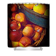 Peaches And Citrus With Blue Wooden Basket Shower Curtain