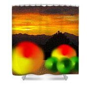 Peaches And Limes On A Colorado Mountain Top Shower Curtain