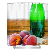 Peaches And Walnuts With Bottle Shower Curtain
