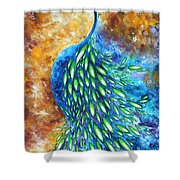 Peacock Abstract Bird Original Painting In Bloom By Madart Shower Curtain