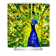 Peacock Abstract Realism Shower Curtain