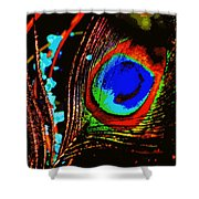 Peacock Feather Abstract Shower Curtain