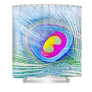 Peacock Feather Neon Shower Curtain