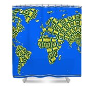 Peacock Feather World Map Shower Curtain