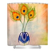 Peacock Feathers In A Vase Shower Curtain