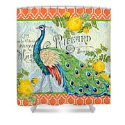 Peacocks In The Rose Garden-3 Shower Curtain