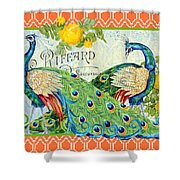 Peacocks In The Rose Garden Shower Curtain