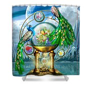 Peacocks Lagoon Shower Curtain
