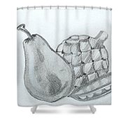 Pear Artichoke Snap Pea Shower Curtain