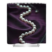 Pearl Necklace On Purple Silk Shower Curtain