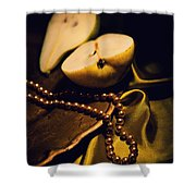 Pearls And Pears Shower Curtain