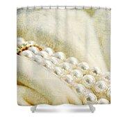 Pearls On White Velvet Shower Curtain