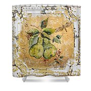 Pears And Dragonfly On Vintage Tin Shower Curtain