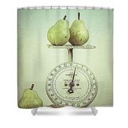 Pears And Kitchen Scale Still Life Shower Curtain