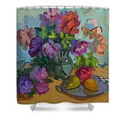 Pears And Roses Shower Curtain