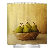 Pears In A Wooden Bowl Shower Curtain