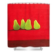 Pears On Red Cloth Shower Curtain