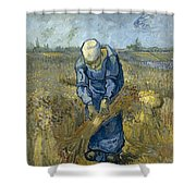 Peasant Woman Binding Sheaves - After Millet Shower Curtain