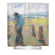 Peasants In The Fields Shower Curtain by Camille Pissarro