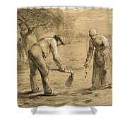 Peasants Planting Potatoes  Shower Curtain