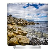 Pebbled Beach Under Dramatic Skies Number Two Shower Curtain