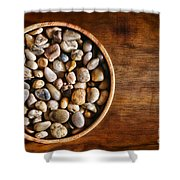 Pebbles In Wood Bowl Shower Curtain