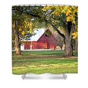 Pecan Orchard Barn Shower Curtain