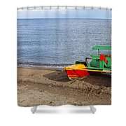 Pedalo On The Shore Of Lake Issyk Kul In Kyrgyzstan Shower Curtain