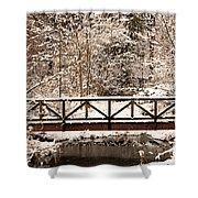 Pedestrian Bridge In The Snow Shower Curtain